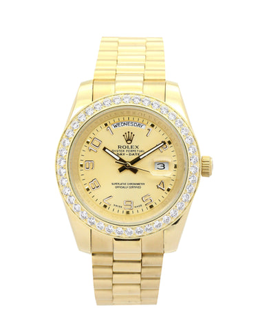 gold bands diamond bezel Rolex Day-Date II 218348 replica men watch - top quality swiss movement knockoff replica designer watches from rolex, migos iced out philippe patek , AP, hublot and bust down iced out diamond jewelry