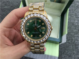 Iced out buss down replica rolex day date 41mm green dial watch - top quality swiss movement knockoff replica designer watches from rolex, migos iced out philippe patek , AP, hublot and bust down iced out diamond jewelry
