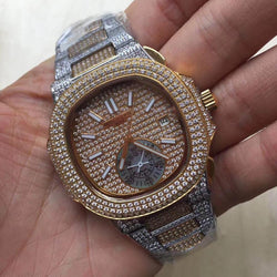 **NEW-NEW-NEW** Two-tone PATEK PHILIPPE NAUTILUS replica watch with ANNUAL CALENDAR & MOON PHASES. (available in different 3 variations) - top quality swiss movement knockoff replica designer watches from rolex, migos iced out philippe patek , AP, hublot and bust down iced out diamond jewelry