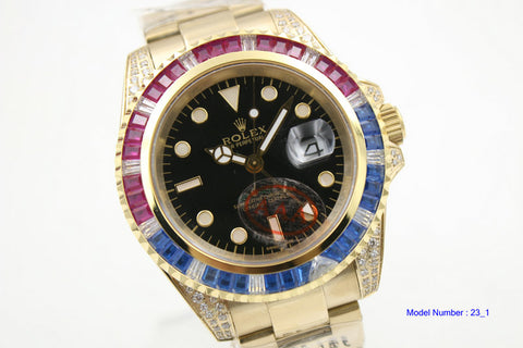 Replica rolex GMT master Black dial and crystal ruby red and blue diamond bezel men watch - top quality swiss movement knockoff replica designer watches from rolex, migos iced out philippe patek , AP, hublot and bust down iced out diamond jewelry