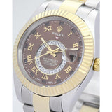 Two-tone silver and gold band replica rolex sky-dweller men's swiss movement watch - top quality swiss movement knockoff replica designer watches from rolex, migos iced out philippe patek , AP, hublot and bust down iced out diamond jewelry