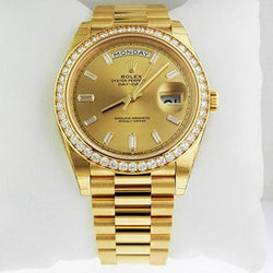 18k Gold Rolex iced out bezel day date presidential watch - top quality swiss movement knockoff replica designer watches from rolex, migos iced out philippe patek , AP, hublot and bust down iced out diamond jewelry