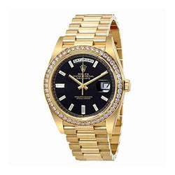 18k Gold bands iced out bezel BLACK dial rolex day date replica watch - top quality swiss movement knockoff replica designer watches from rolex, migos iced out philippe patek , AP, hublot and bust down iced out diamond jewelry
