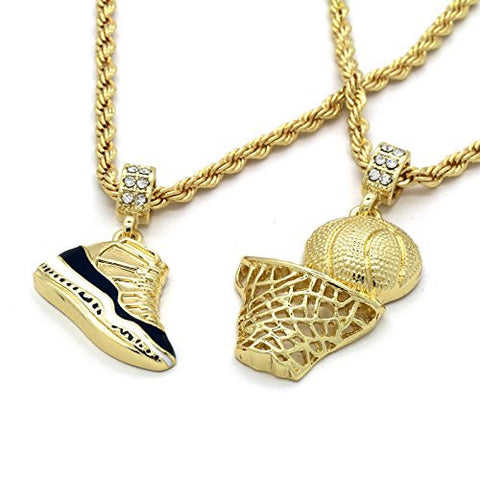 Gold plated hiphop retro 11 concord plain basketball pendant gold plated hiphop retro 11 concord plain basketball pendant 4mm 24 rope mozeypictures Images
