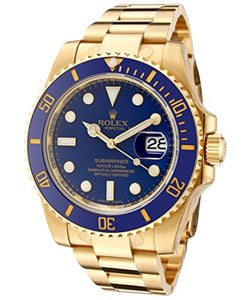 Rolex Men's Submariner Automatic Blue Dial Oyster 18k Solid Gold - top quality swiss movement knockoff replica designer watches from rolex, migos iced out philippe patek , AP, hublot and bust down iced out diamond jewelry
