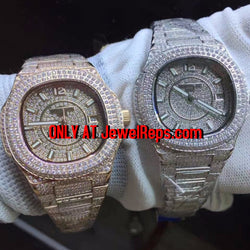 WOMEN Bust Down Double dial replica Patek Philippe Nautilus watch (in rose gold and white gold) - top quality swiss movement knockoff replica designer watches from rolex, migos iced out philippe patek , AP, hublot and bust down iced out diamond jewelry