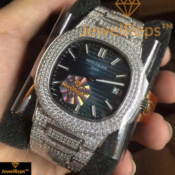 **LIMITED STOCK**  ICED OUT BANDS Patek Philippe Nautilus  BLUE or WHITE DIAL REPLICA MEN's watch - top quality swiss movement knockoff replica designer watches from rolex, migos iced out philippe patek , AP, hublot and bust down iced out diamond jewelry