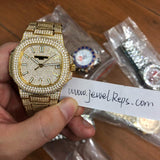 **SELLING OUT FAST** Replica Patek Philippe Nautilus Jumbo 5719/1G-001 DM WITH white markers (Rose Gold, diamond and yellow gold) - top quality swiss movement knockoff replica designer watches from rolex, migos iced out philippe patek , AP, hublot and bust down iced out diamond jewelry