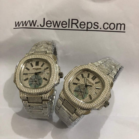 BUST DOWN - ICED OUT PATEK PHILIPPE NAUTILUS replica watch with chronograph (white diamond and rose gold) - top quality swiss movement knockoff replica designer watches from rolex, migos iced out philippe patek , AP, hublot and bust down iced out diamond jewelry