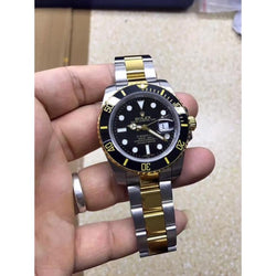 replica two tone Rolex Submariner 40mm black dial men replica watch (Gold and rose gold bands available) - top quality swiss movement knockoff replica designer watches from rolex, migos iced out philippe patek , AP, hublot and bust down iced out diamond jewelry
