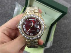 Iced out buss down replica rolex day date 41mm red dial watch - top quality swiss movement knockoff replica designer watches from rolex, migos iced out philippe patek , AP, hublot and bust down iced out diamond jewelry