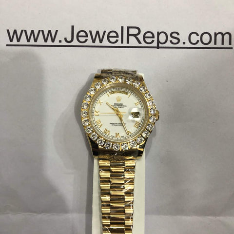 Iced out bezel white dial gold bands rolex day date 41mm replica watch - top quality swiss movement knockoff replica designer watches from rolex, migos iced out philippe patek , AP, hublot and bust down iced out diamond jewelry