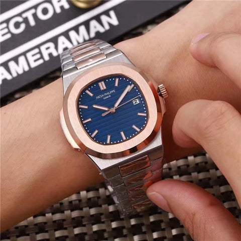 Replica Patek Philippe Nautilus two tone silver and  Rose Gold blue dial watch - top quality swiss movement knockoff replica designer watches from rolex, migos iced out philippe patek , AP, hublot and bust down iced out diamond jewelry