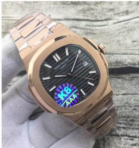 Replica Patek Philippe Nautilus Rose Gold black Dial Swiss movement watch - top quality swiss movement knockoff replica designer watches from rolex, migos iced out philippe patek , AP, hublot and bust down iced out diamond jewelry