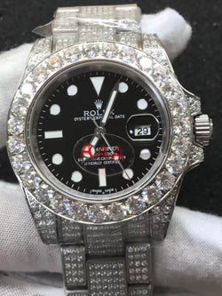 stainless steel ICED OUT rolex submariner with black dial - top quality swiss movement knockoff replica designer watches from rolex, migos iced out philippe patek , AP, hublot and bust down iced out diamond jewelry