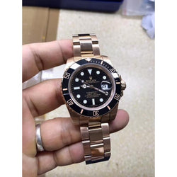 solid rose gold or yellow gold bands replica Rolex Submariner 40mm black dial mens watch - top quality swiss movement knockoff replica designer watches from rolex, migos iced out philippe patek , AP, hublot and bust down iced out diamond jewelry