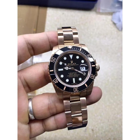 solid rose gold or yellow gold bands replica Rolex Submariner 40mm