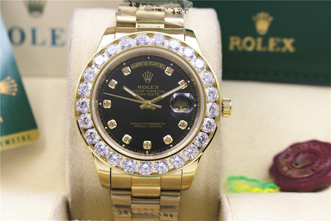 Gold iced out big diamond bezel rolex day date replica watch - top quality swiss movement knockoff replica designer watches from rolex, migos iced out philippe patek , AP, hublot and bust down iced out diamond jewelry
