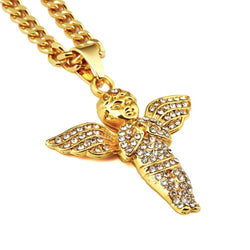 31.4 inch  Gold Plated Micro Angel necklaces - top quality swiss movement knockoff replica designer watches from rolex, migos iced out philippe patek , AP, hublot and bust down iced out diamond jewelry