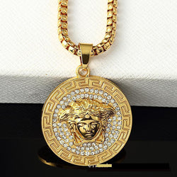 Versace medusa iced out gold chain - top quality swiss movement knockoff replica designer watches from rolex, migos iced out philippe patek , AP, hublot and bust down iced out diamond jewelry