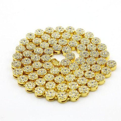 Cluster Chain ICED OUT YELLOW GOLD PLATED NECKLACE JEWELRY