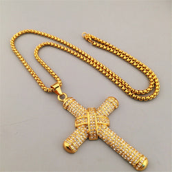 24K Knot jesus cross pendant necklace - top quality swiss movement knockoff replica designer watches from rolex, migos iced out philippe patek , AP, hublot and bust down iced out diamond jewelry