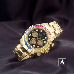Replica Rolex Daytona Cosmograph rainbow diamond bezel Swiss watch - top quality swiss movement knockoff replica designer watches from rolex, migos iced out philippe patek , AP, hublot and bust down iced out diamond jewelry