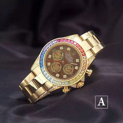 Replica Rolex Daytona Cosmograph rainbow diamond bezel & Brown Dial Swiss watch - top quality swiss movement knockoff replica designer watches from rolex, migos iced out philippe patek , AP, hublot and bust down iced out diamond jewelry