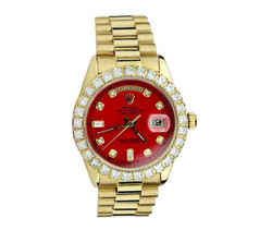 18k Gold red dial Rolex Day Date Presidential replica watch - top quality swiss movement knockoff replica designer watches from rolex, migos iced out philippe patek , AP, hublot and bust down iced out diamond jewelry