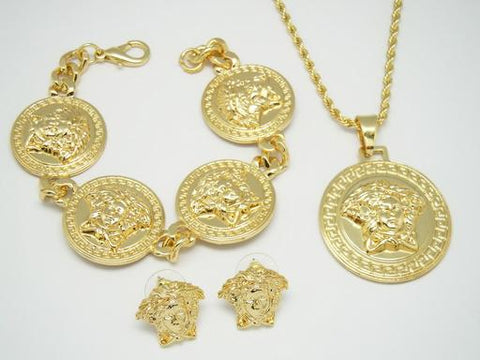 gold versace medusa three piece set with bracelet, necklace and earings - top quality swiss movement knockoff replica designer watches from rolex, migos iced out philippe patek , AP, hublot and bust down iced out diamond jewelry