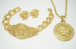 gold versace medusa three piece set with bracelet, necklace and earrings/rings - top quality swiss movement knockoff replica designer watches from rolex, migos iced out philippe patek , AP, hublot and bust down iced out diamond jewelry