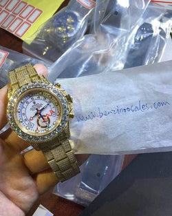 iced out replica rolex yatchmaster yello gold white dial - top quality swiss movement knockoff replica designer watches from rolex, migos iced out philippe patek , AP, hublot and bust down iced out diamond jewelry