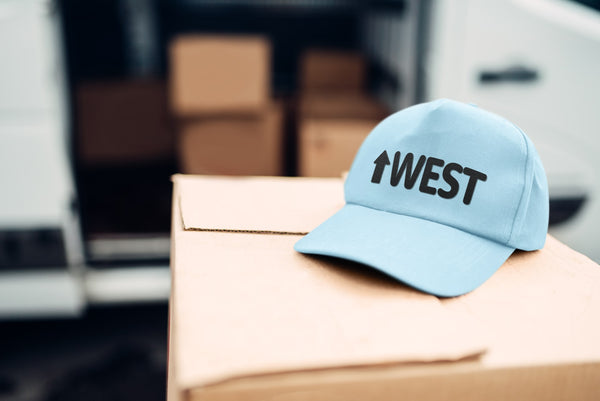 An Up West Classic Dad Hat, waiting to be shipped.
