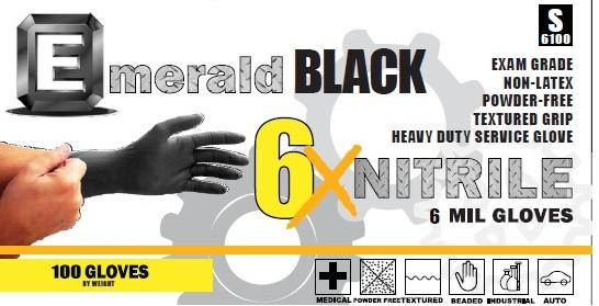 High Risk Nitrile Black Exam Gloves