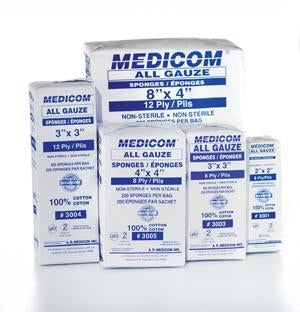 AMD MEDICOM ALL GAUZE SPONGES - NON STERILE