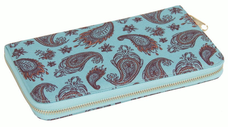 Passport Wallet // Blue Paisley