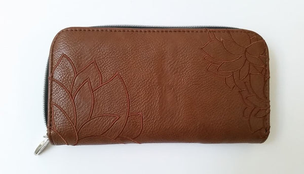 Brown Floral Embossed Wallet