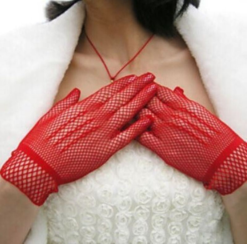 Gloves // Crochet or Fishnet // Red