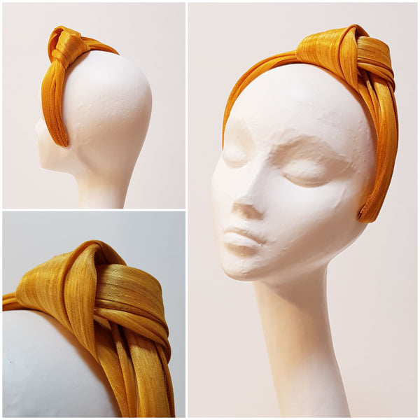 Anél // Headband // Orange Silk Abaca Turban