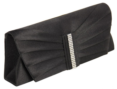 Black satin clutch with diamante strip