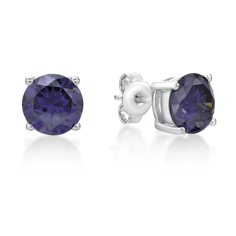 Sterling Silver Purple Stud Earrings