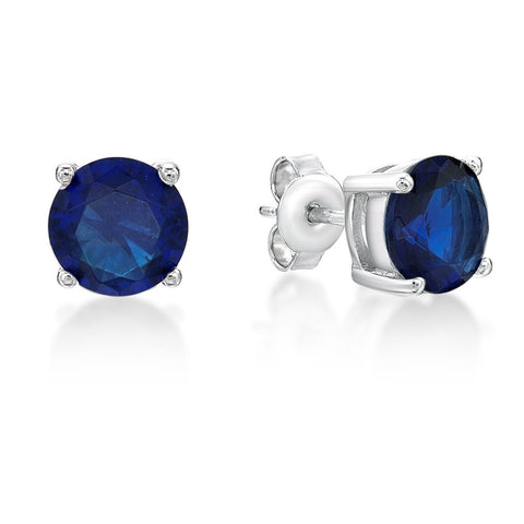 Sterling Silver Blue Stud Earrings