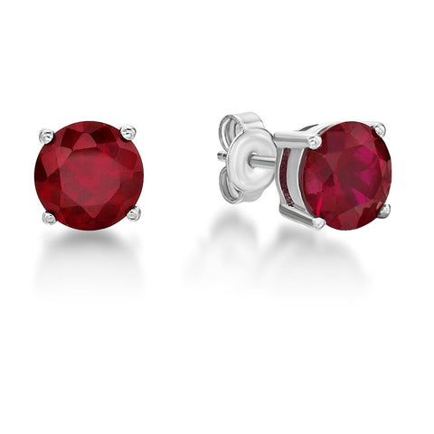 Sterling Silver Red Stone Stud Earrings
