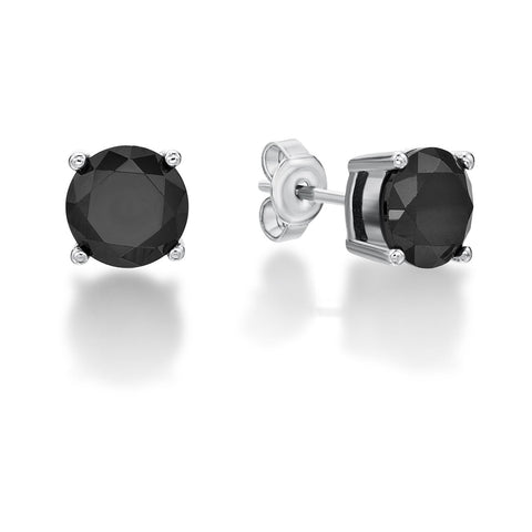 Sterling Silver Black Stone Stud Earrings