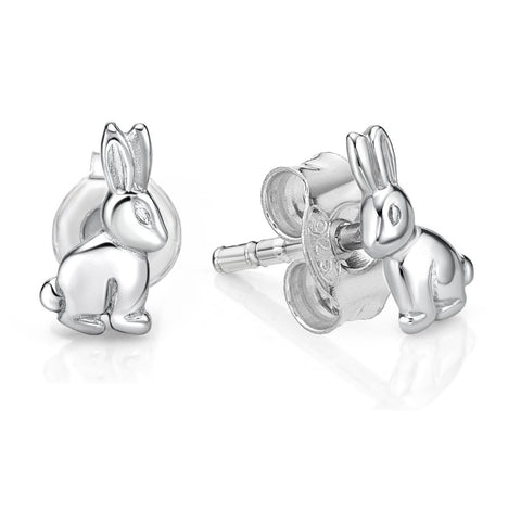 Silver Rabbit Stud Earrings