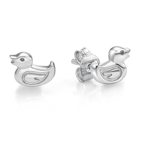 Sterling Silver Duck Stud Earrings