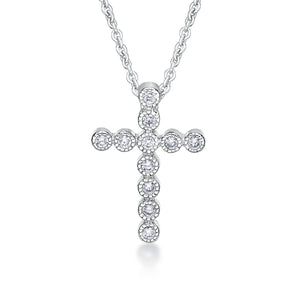 Sterling Silver Grain Set Cubic Zirconia Cross Pendant