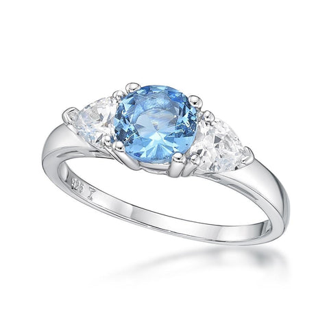 Sterling Silver Blue Cubic Zirconia Claw Set Ring