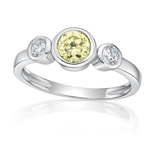 Sterling Silver Light Green CZ Ring (August Birthstone)