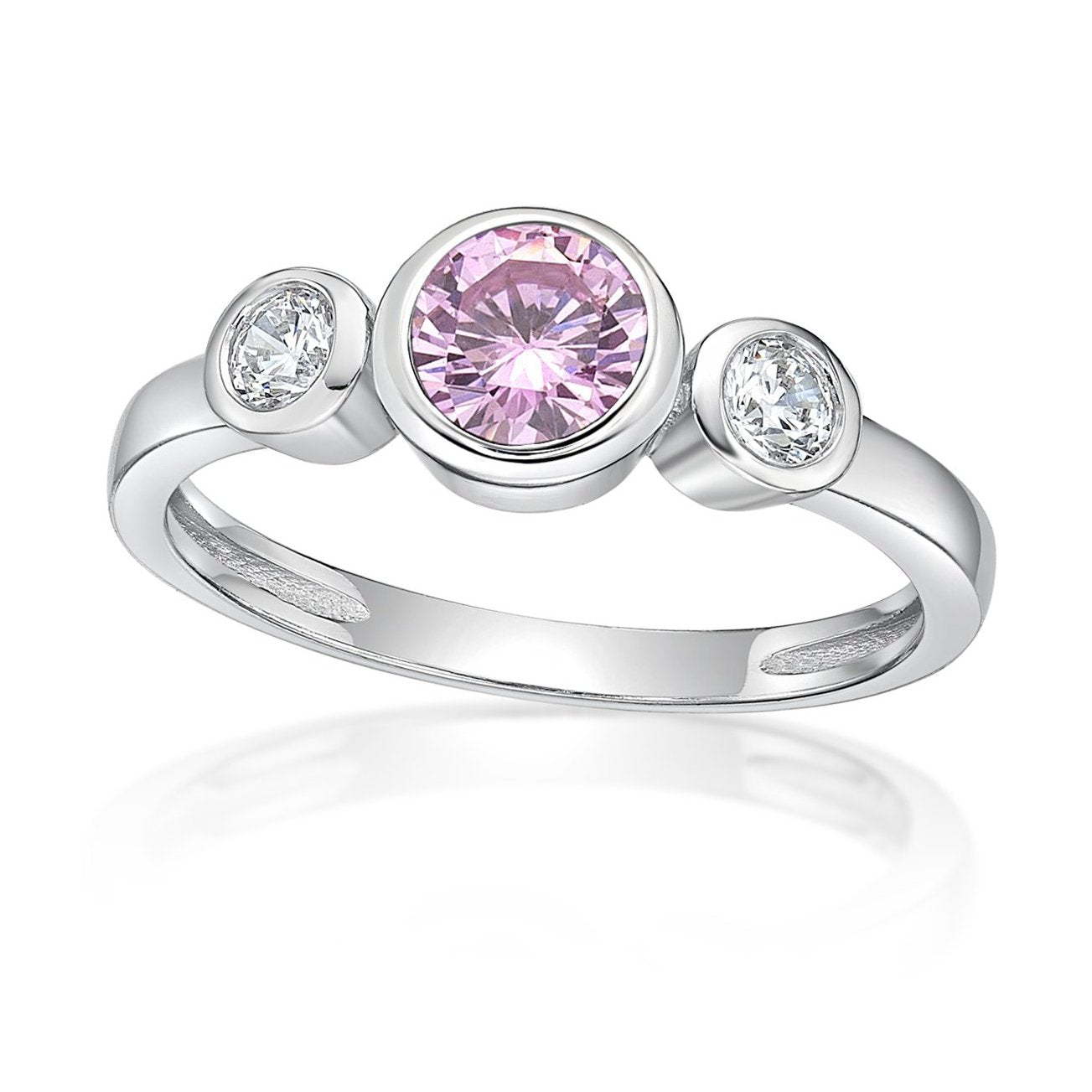 Sterling Silver Pink Cubic Zirconia Ring. October birthstone
